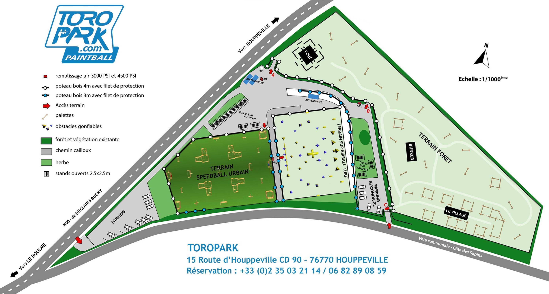 Plan TOROPARK - Parc Terrain Paintball Normandie 76 - Loisirs